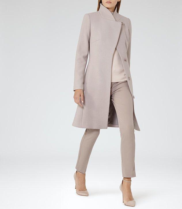 Hutton Parchment Wrap-Collar Coat - REISS Tried this coat