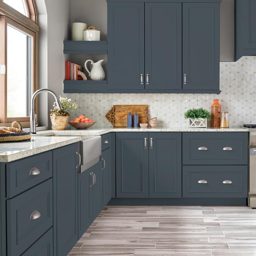Behr Premium 1 Gal N480 7 Midnight Blue Semi Gloss Enamel Interior Cabinet And Trim Pai In 2020 Kitchen Design Painted Kitchen Cabinets Colors Green Kitchen Cabinets