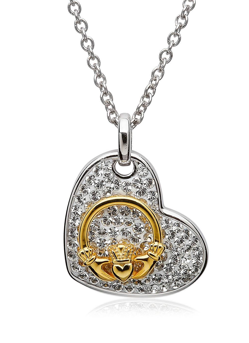 Claddagh Heart Pendant Encrusted With Swarovski Crystals