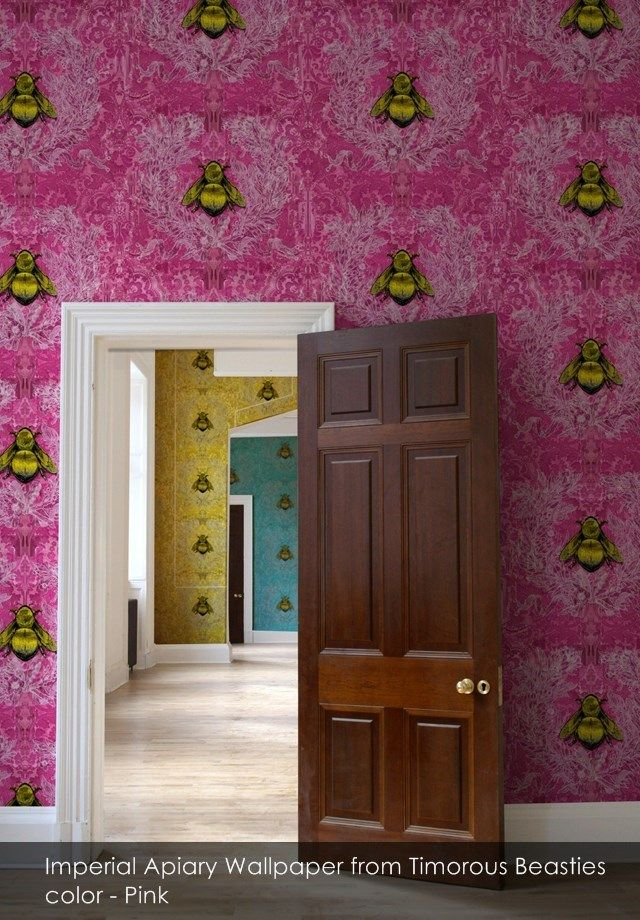 Imperial Apiary wallpaper from Timorous Beasties in Pink