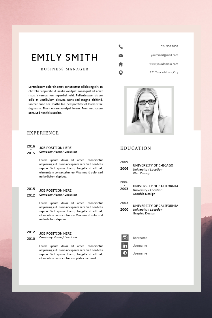Modern Resume Template Cv Template Cover Letter Creative Resume Ideas Resume Minimalist Resume Instant Download Easy Resume Resume Design Template Modern Resume Template Resume Template