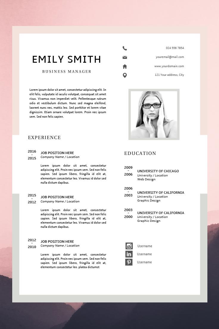 Modern Resume Template Cv Template Cover Letter Creative Etsy Resume Template Resume Design Template Modern Resume Template
