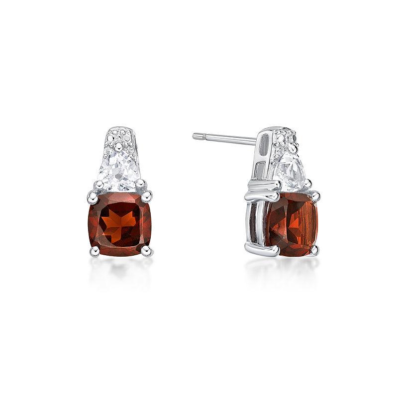 0ac457486 Genuines Red Garnet Sterling Silver 12.8mm Stud Earrings   Products ...