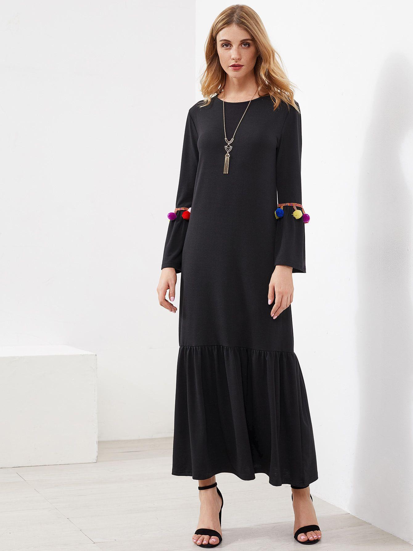 b218e04971 Pompom Detail Frill Hem Maxi Long Dress -SheIn(Sheinside) | Vestidos ...