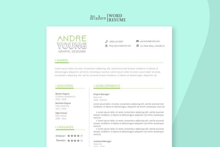 2020 one page resume template microsoft word 611823