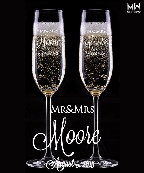 Wedding Champagne Glasses, Engraved Champagne Flutes