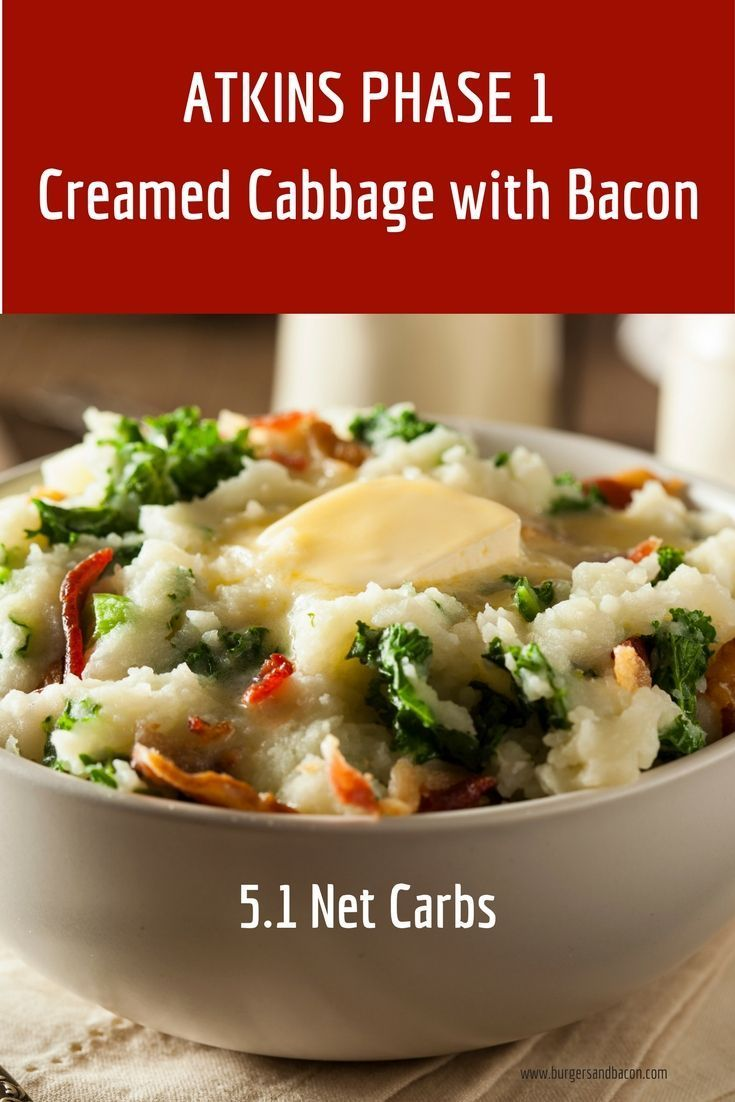 Atkins Diet Recipes Phase  Atkins Phase  Induction Diet Creamed Cabbage With Bacon Takes Less Than  Minutes And The Entire Family Will Enjoy This Low