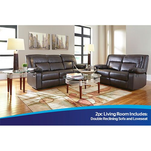 Amalfi Affinity 2 Piece Motion Sofa And Loveseat In Dark Brown