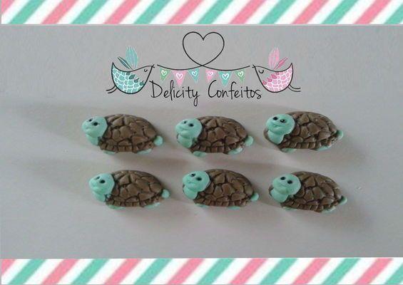 Confeito aplique enfeite Tartaruga , bichos do jardim, açúcar para doces, docinhos, cupcakes, bolos, alfajores, bem nascidos.. Delicity Confeitos Arte em Açúcar e Biscuit