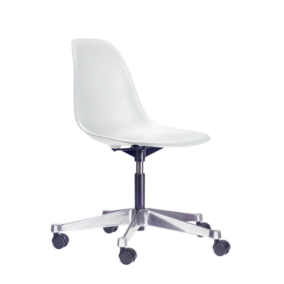Vitra - Eames Plastic Side Chair PSCC, weiß (Rollen für harte Böden ...