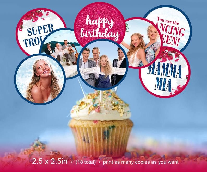 Mamma Mia Cupcake Toppers Mamma Mia Cupcake Toppers It S Your Birthday