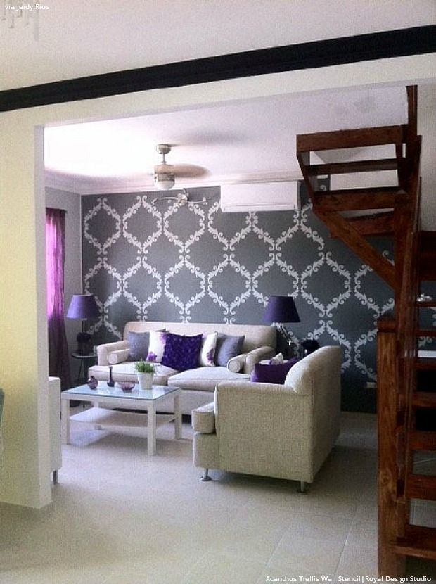 Trendy Glam Room Makeovers With DIY Black Painted Stenciled