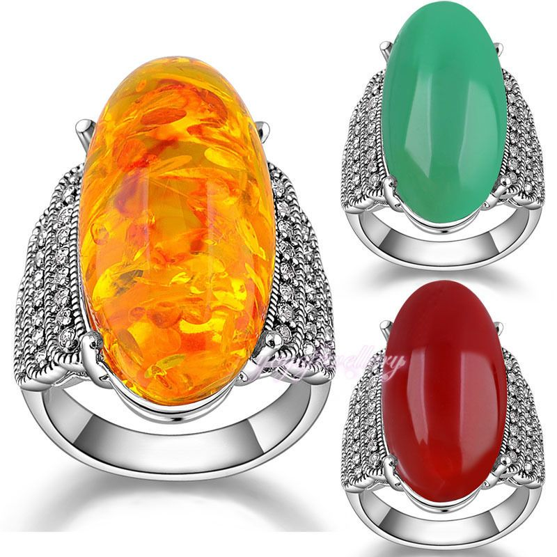 ON SALE fashion cocktail ring colorful resin marcasite ring SALE R1012R1013R1014 | eBay