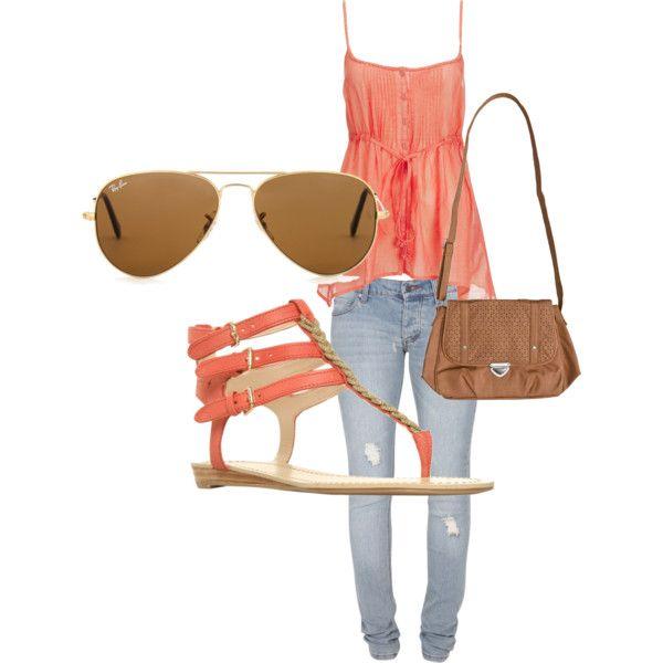 salmon babydoll ruffled tank + gold/brown sunglasses + salmon/gold/tan sandals + light wash destroyed skinny jeans + light brown crossbody