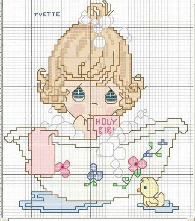 patron punto de cruz para toalla de bebé | Girls, Bebe and Bath