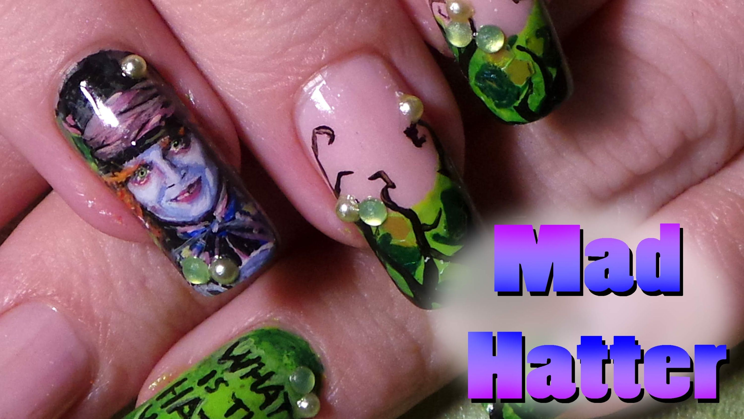 Alice In Wonderland Inspired Nail Art Tutorial; Mad Hatter ...
