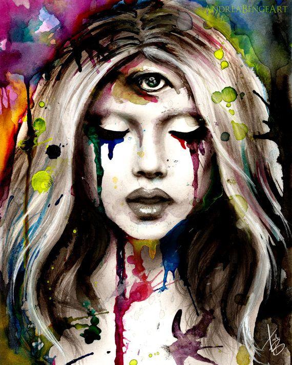 Third Eye Art Print Abstract Surreal Skull Goth By Andreabengeart Third Eye Art Eye Art Art