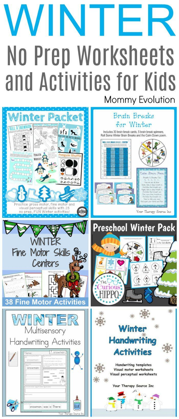 No Prep Winter Worksheets and Activities | After School Activities ...