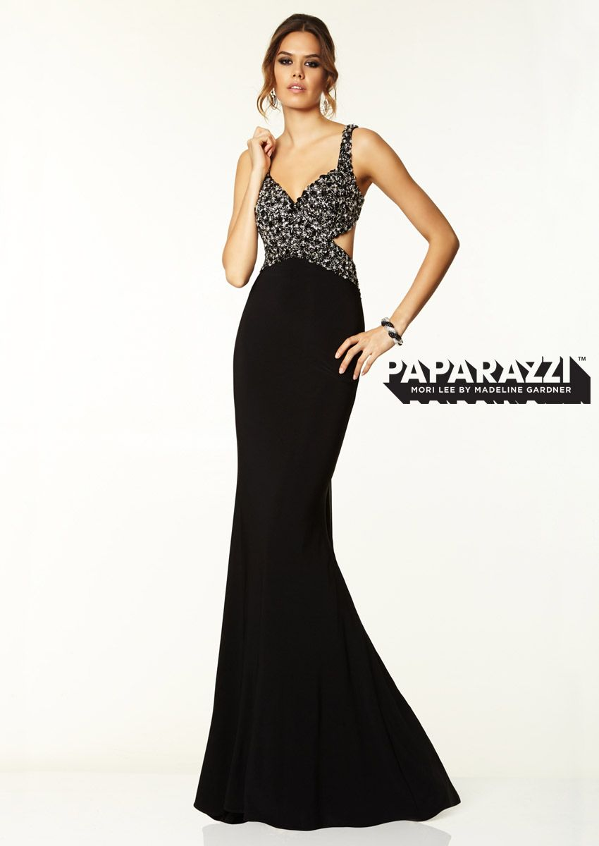 prom dresses gowns beaded jersey with chiffon fly away black