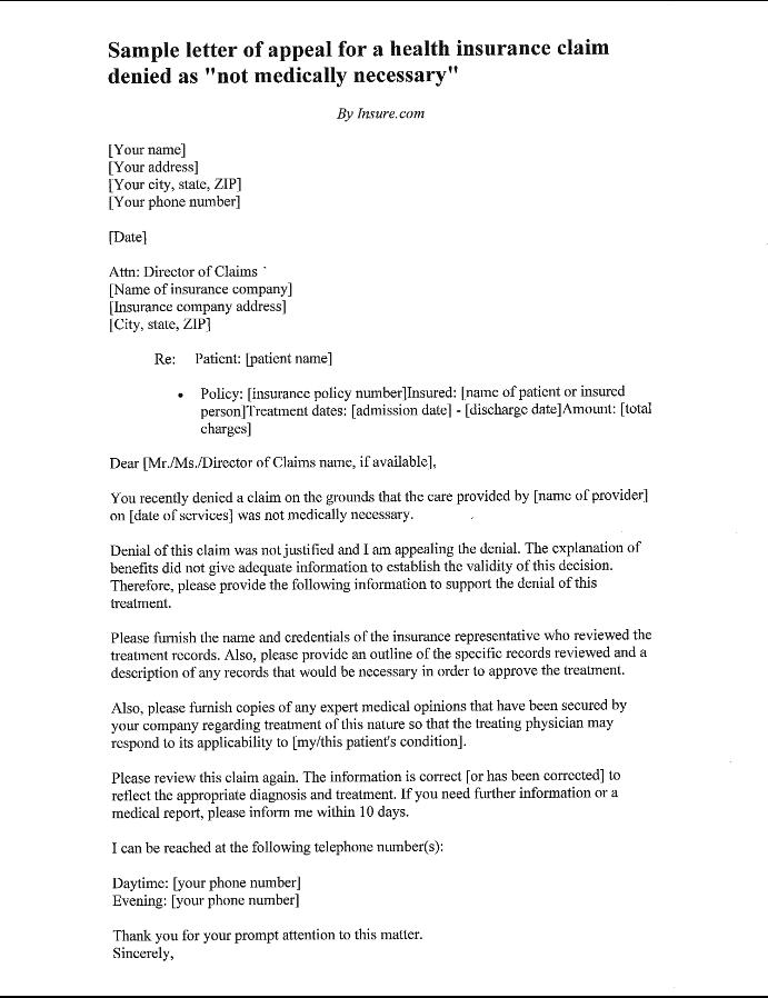 Sample Letter Of Appeal Health Insurance Http Exampleresumecv