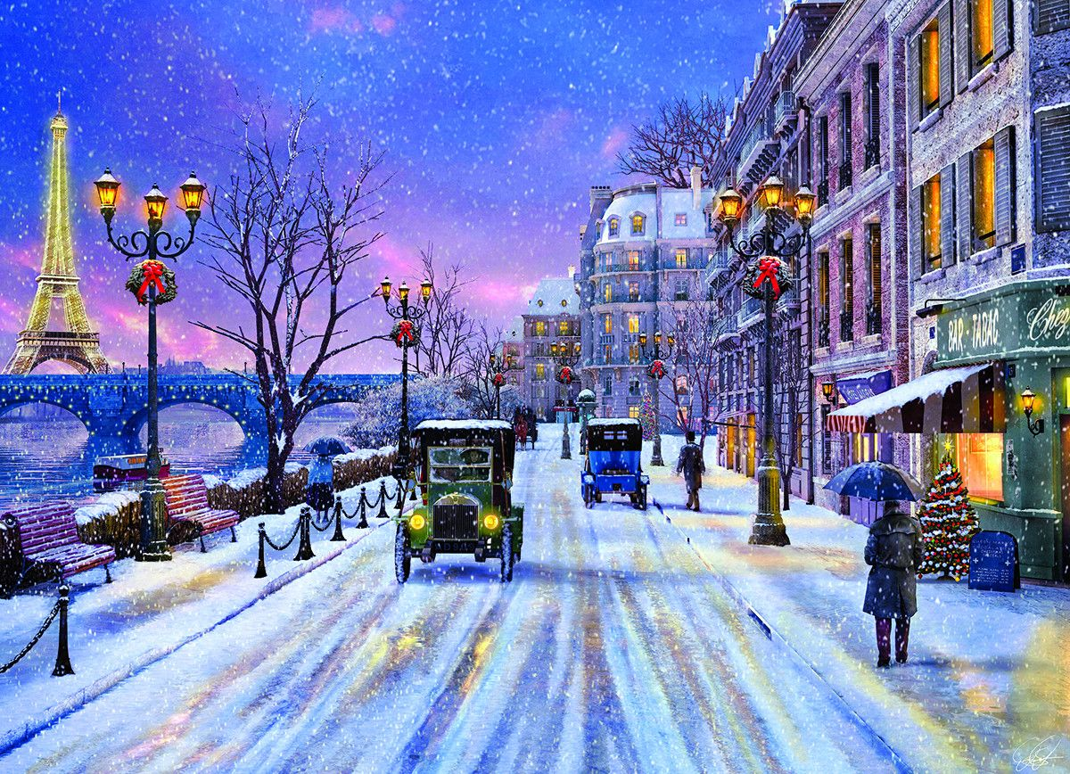 Christmas Eve In Paris Christmas In Paris Christmas Paintings