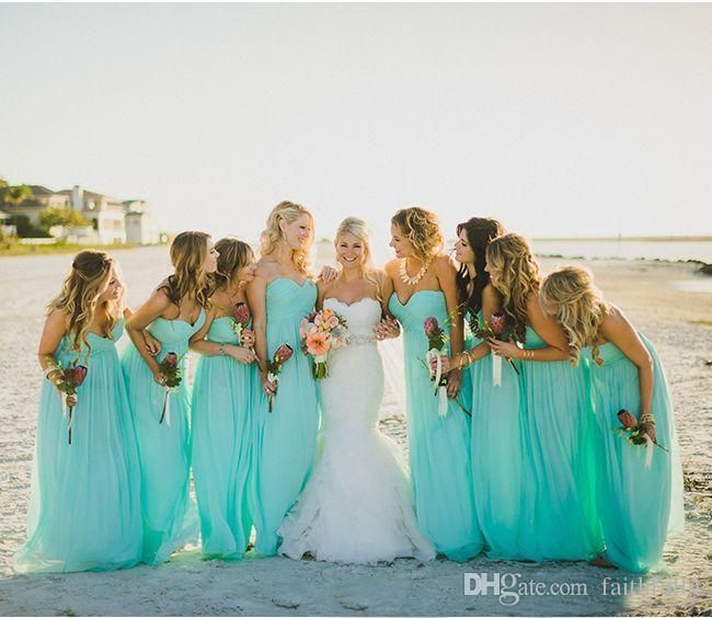 Turquoise 2017 Bridesmaid Dresses Beach Party Dresses With A Line ...