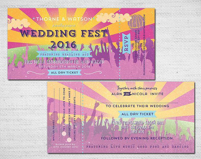 Boda fiesta Ticket PDF imprimible Wedfest Festival