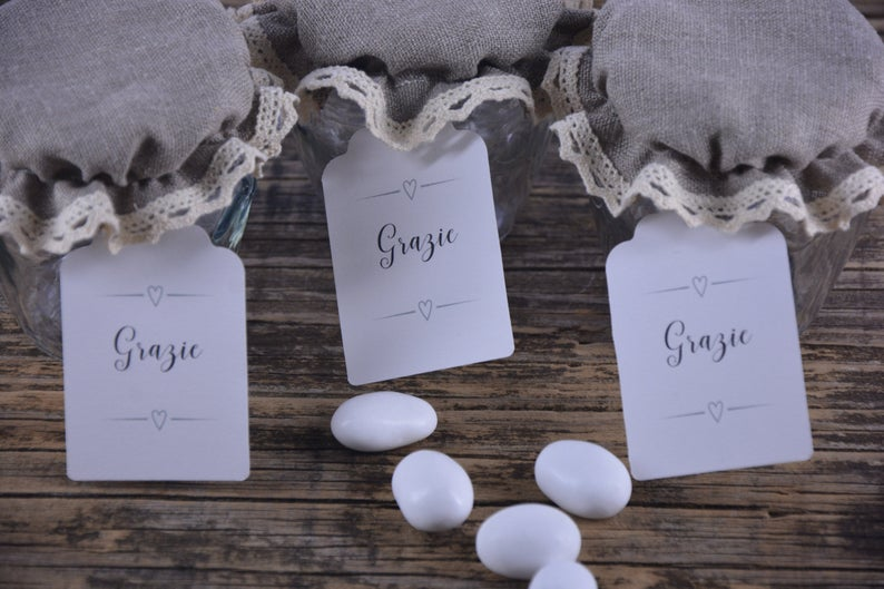 Bomboniere Shabby Chic Barcovers In Pure Raw Linen Also Ideal For Creating Placeholders For Your Wedding In 2020 Jar Tags Shabby Chic Spice Jars