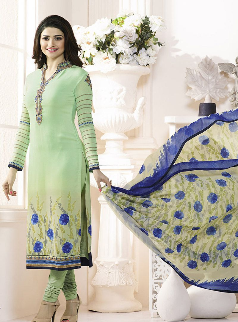 66382757ba Prachi Desai Sea Green Crepe Churidar Salwar Suit 92326 | Wearing ...