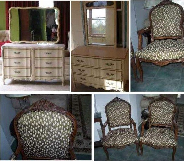 Wonderful Antique French Provincial Chairs U0026 Dixie Dressers 1965