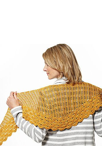 Staggered Shells Wrap, free pattern by Patons.  * Check Project gallery notes from other crocheters. #crochet #shawl #wrap