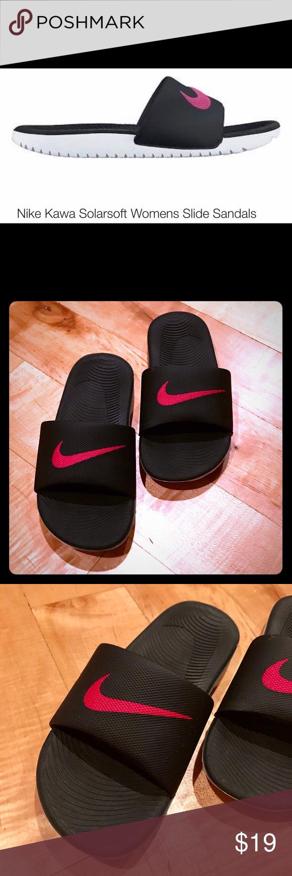 d70b40dab24b ✨🆕✨Nike Kawa Solarsoft Womens Slide Sandals ✨🆕✨Nike Black sandals with  pink Nike logo and White bottoms. Worn twice  basically brand new.