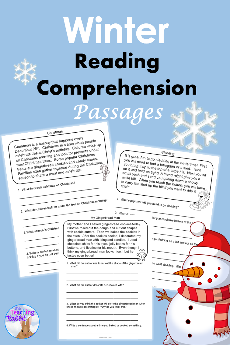 Winter Reading Comprehension Passages | Reading comprehension ...