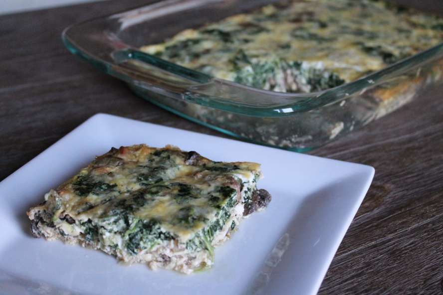 Canadian Bacon, Spinach and Mushroom Egg Bake Stuffed