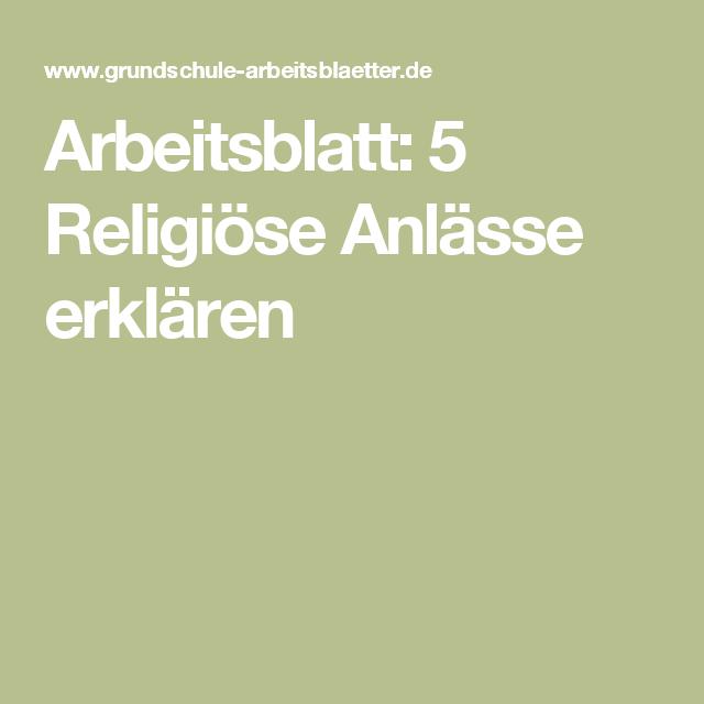 Arbeitsblatt: 5 Religiöse Anlässe erklären | Arbeitsblätter