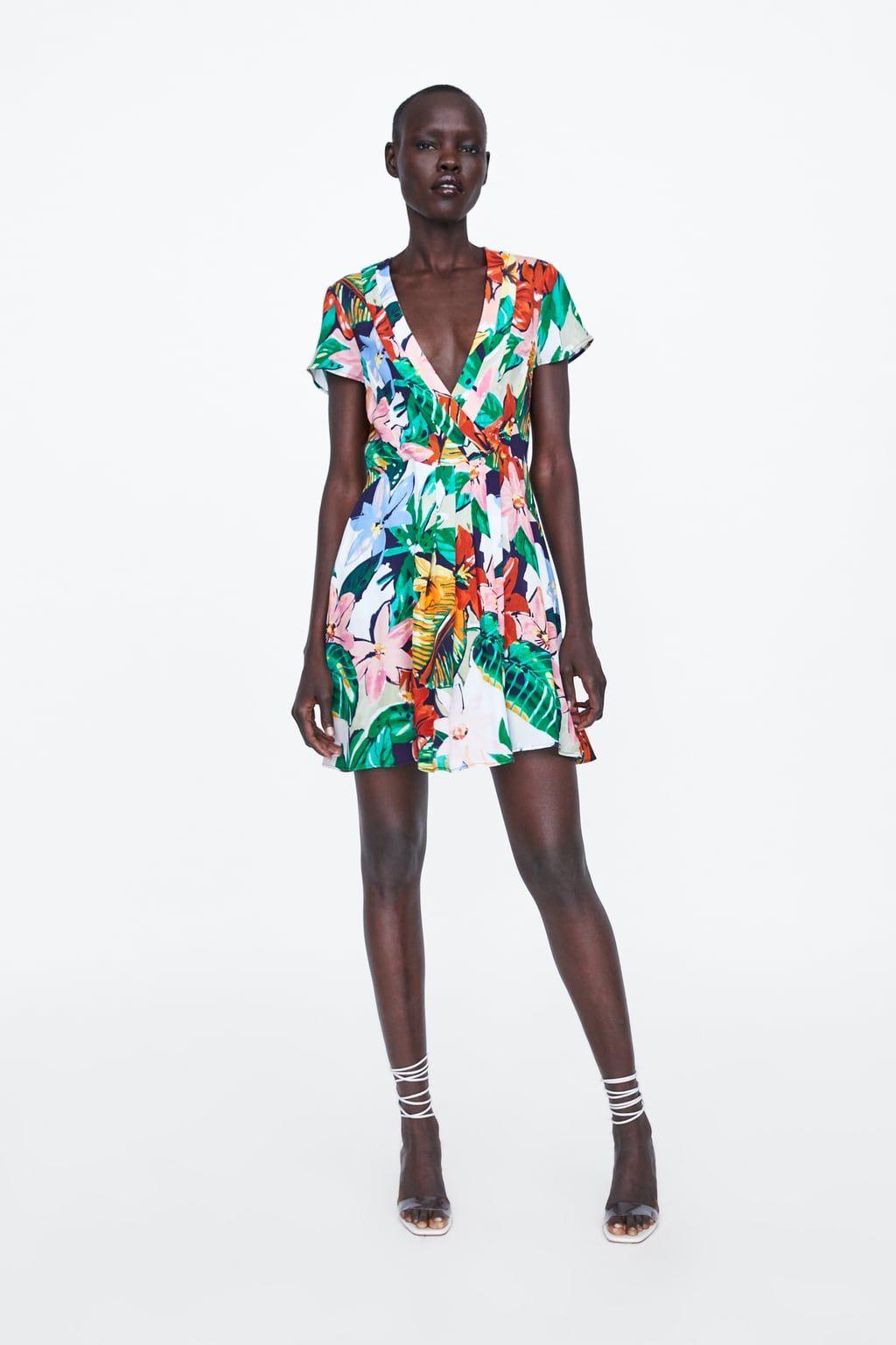 vestido estampado floral   vestiti, scollo a v, stampe floreali