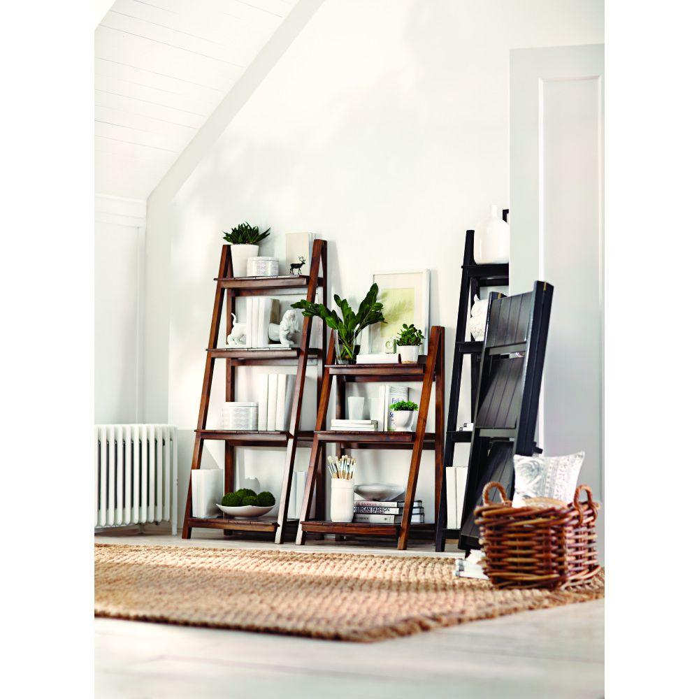 Casual Home Nolan Warm Brown Folding Ladder Bookcase 360 34 The Home Depot Cheap Bedroom Furniture Home Decor Gorgeous Furniture