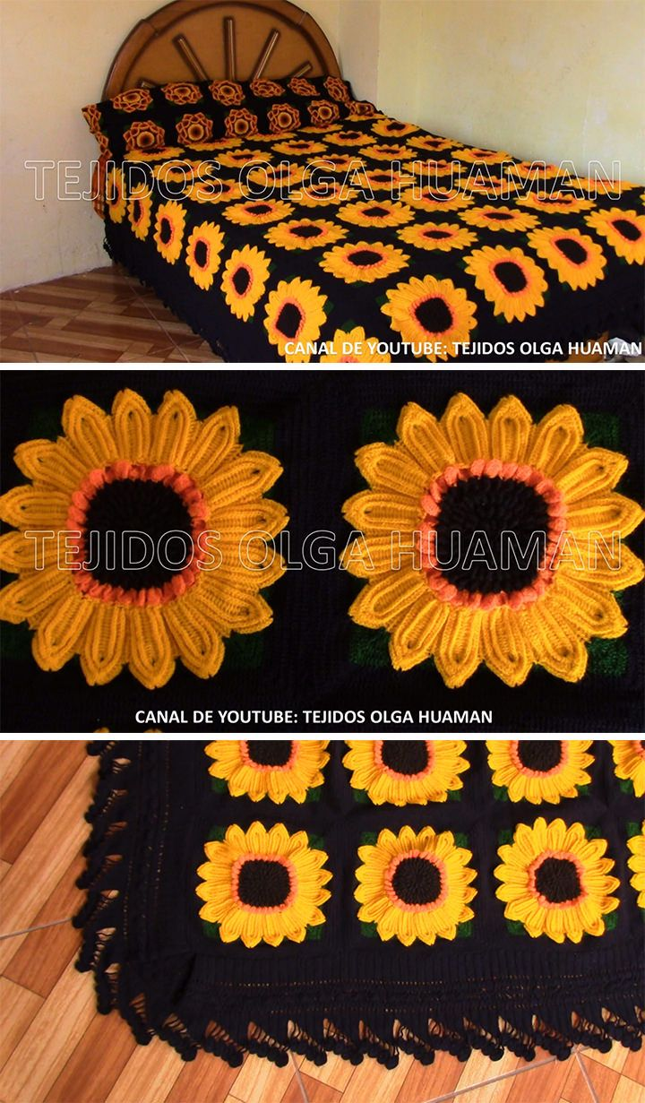 How To Make Crochet Sunflower Blanket #grannysquareponcho