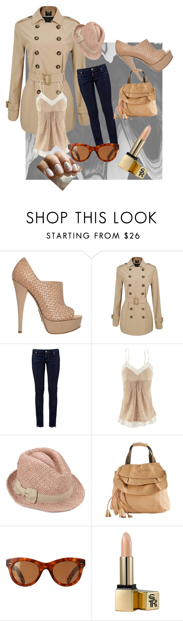 """""""Undercover Beige"""" by cdunlop ❤ liked on Polyvore featuring Alejandro Ingelmo, Dsquared2, Marc Jacobs, Orla Kiely, Sunday Riley and Essie"""