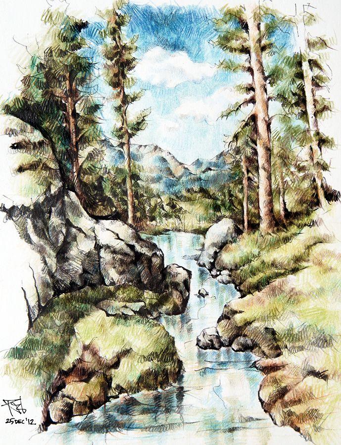 Landscape Colored Pencils C Razvan Nitoi 2012 Landscape Landscape Drawings Color Pencil Drawing