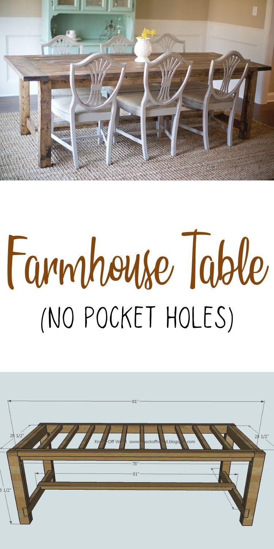 Photo of Farmhouse Table – No Pocket Holes Plan | Ana White