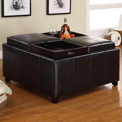 Furniture Of America Storage Ottoman With 4 Food Trays Espresso