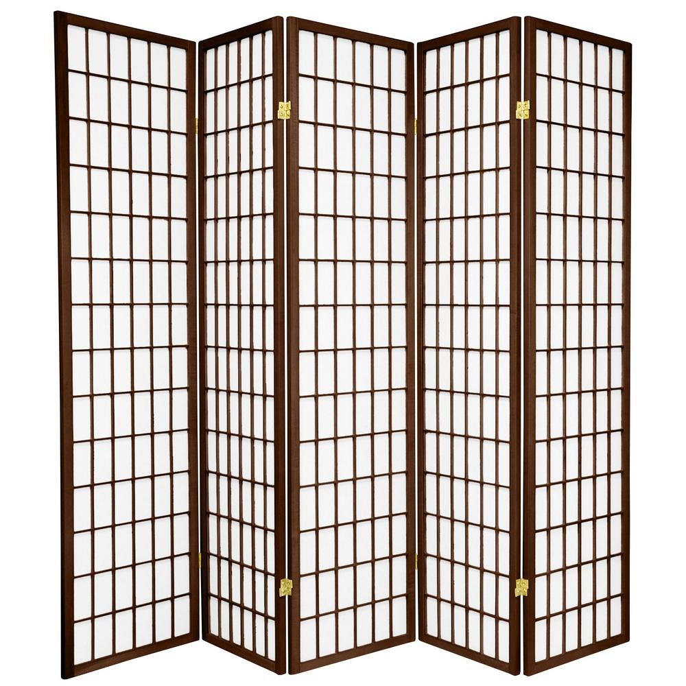 Oriental Furniture 6 Ft Walnut 5 Panel Room Divider Cwp 5p Wal