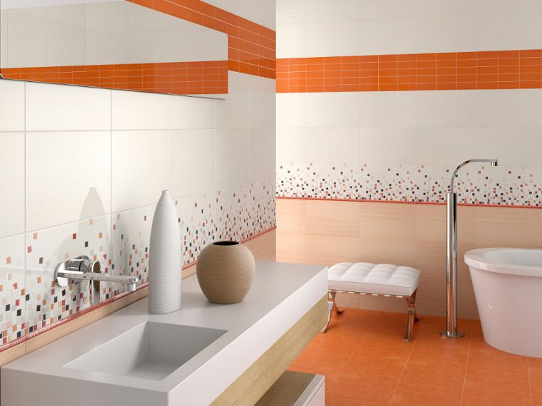 . Modern bathroom tiles  check out our Vetro Orange tiles  armatile