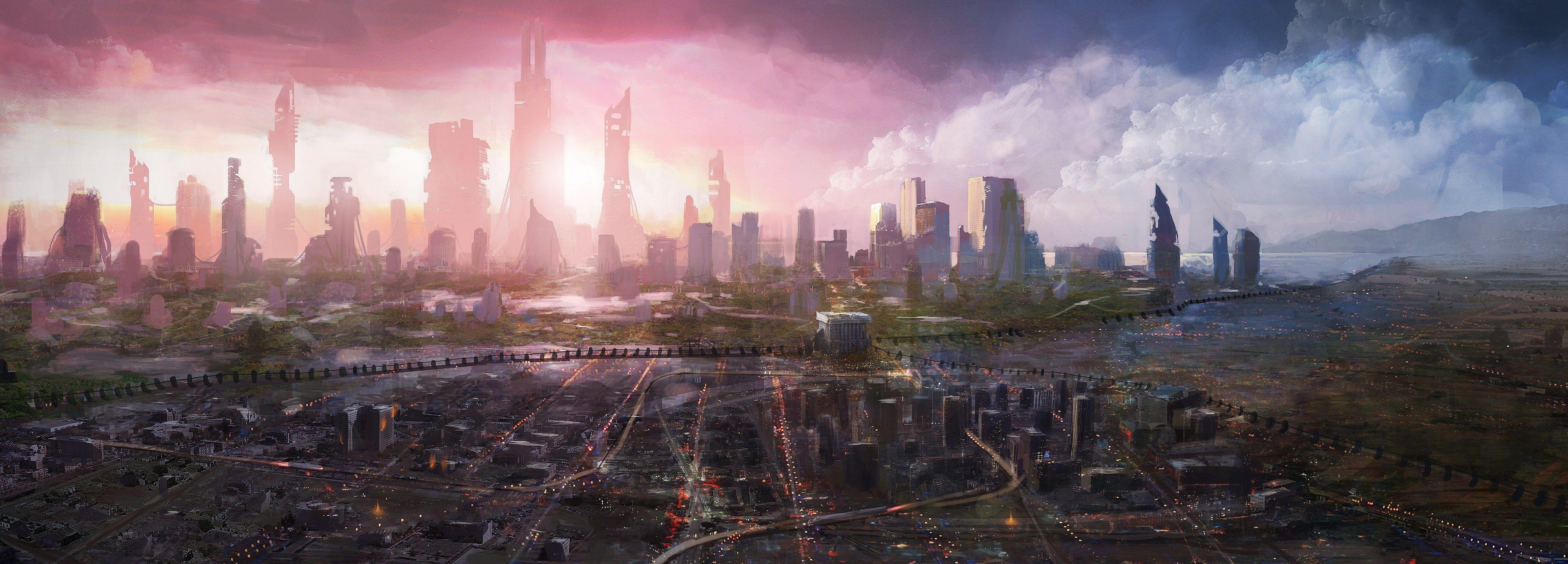 Quality Cool Future City Picture 4000x1440 1423 Kb Steampunk City Futuristic City Fantasy Landscape