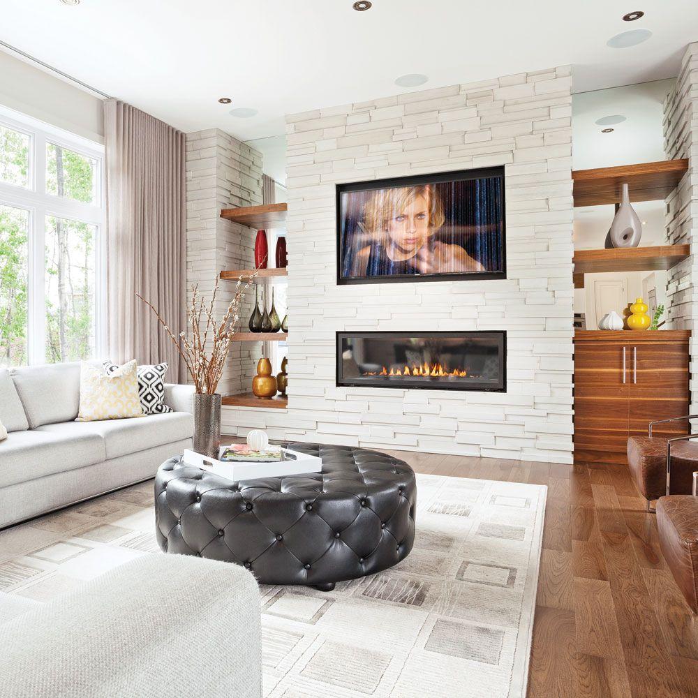 R sultats de recherche d 39 images pour salon avec foyer lectrique mur blanc et pierre grise - Deco murale sejour ...