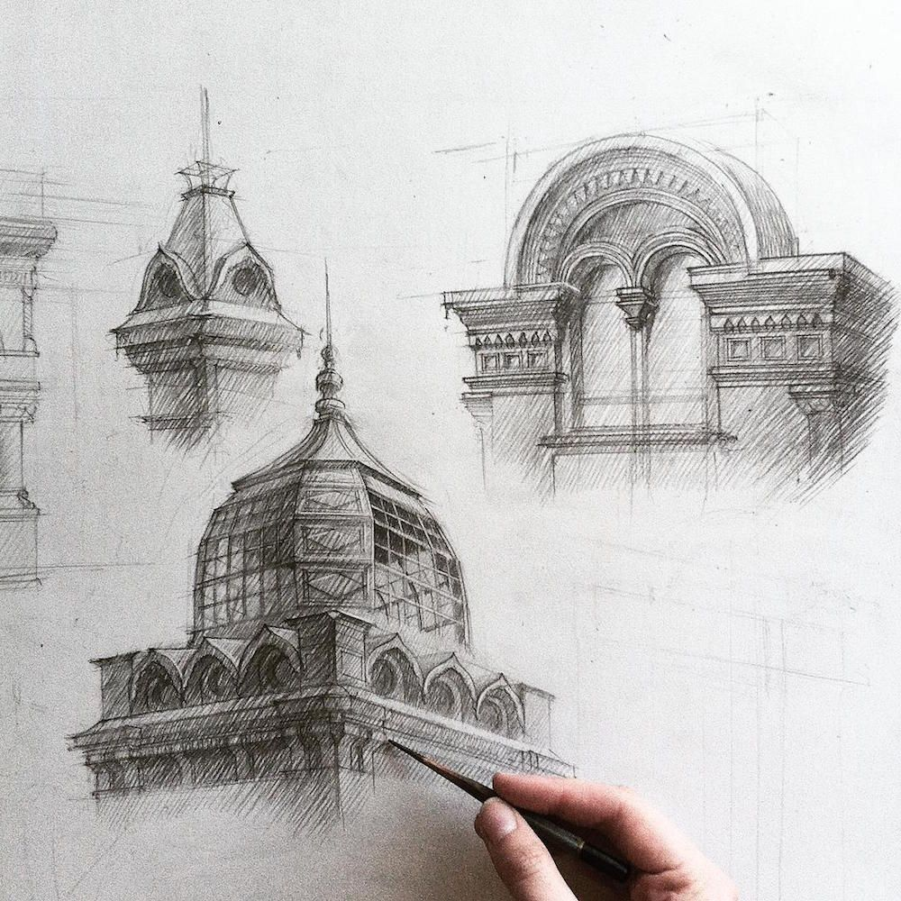 Architecture Student Adelina Gareeva Drafts Her Work By Hand
