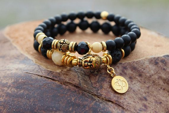Yoga Chakra Bracelet set Black onyx Czech & lava Gold by gotchakra, $40.00