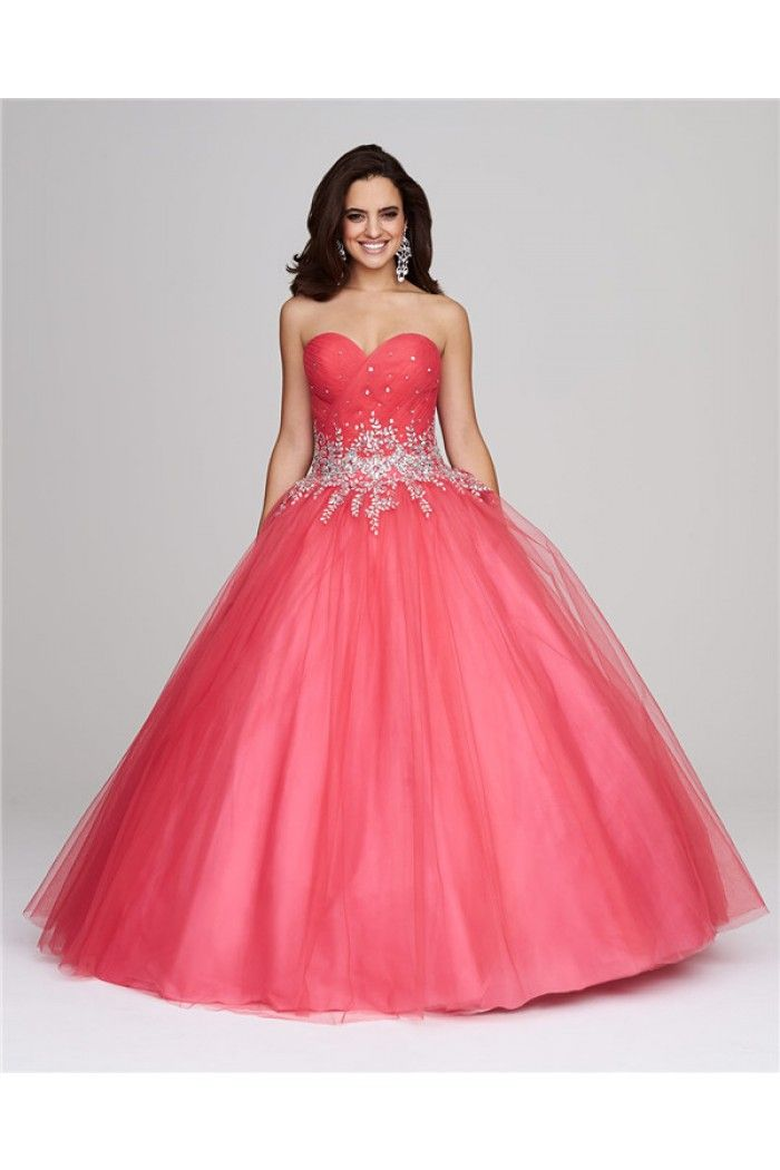 Puffy Ball Gown Sweetheart Watermelon Tulle Beaded Corset Prom Dress ...