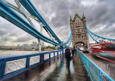 Crossing Tower Bridge in the Rain Premium Photographic Print by Trey Ratcliff at Art.com